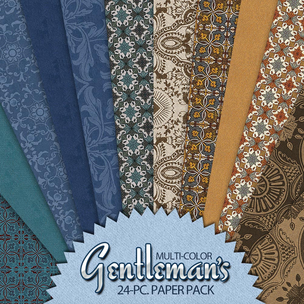 Digital Scrapbooking Papers – Men's Scrapbooking - Multi-Color