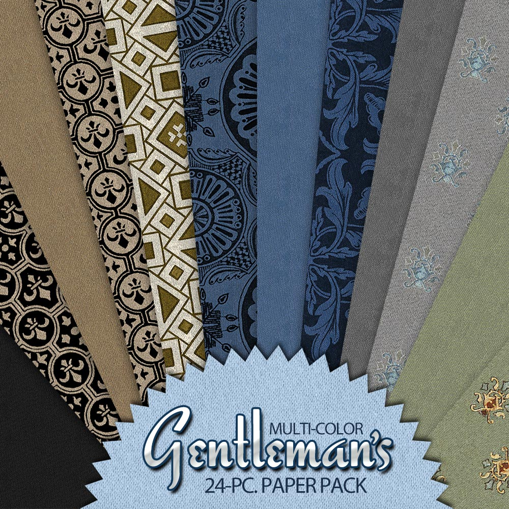 Gentleman's Multi-Color Digital Paper Pack – Men's Scrapbooking, Card-Making, Father's Day