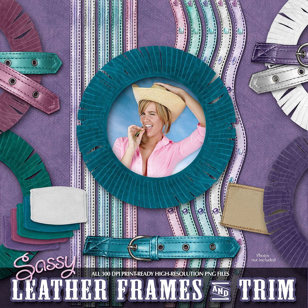 Digital Scrapbook Kits - Cowgirl Sassy Leather Trim