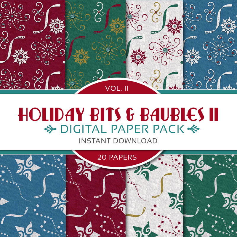 Digital Scrapbooking Papers - Holiday Bits & Baubles II