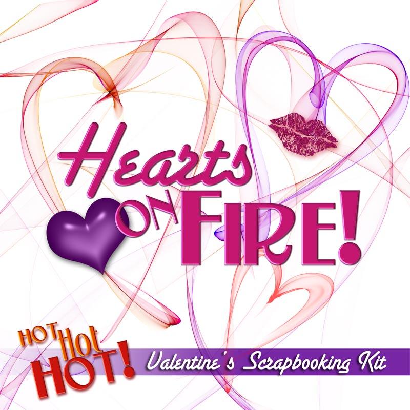 Digital Scrapbooking Kits - Hearts On Fire Valentine's Day