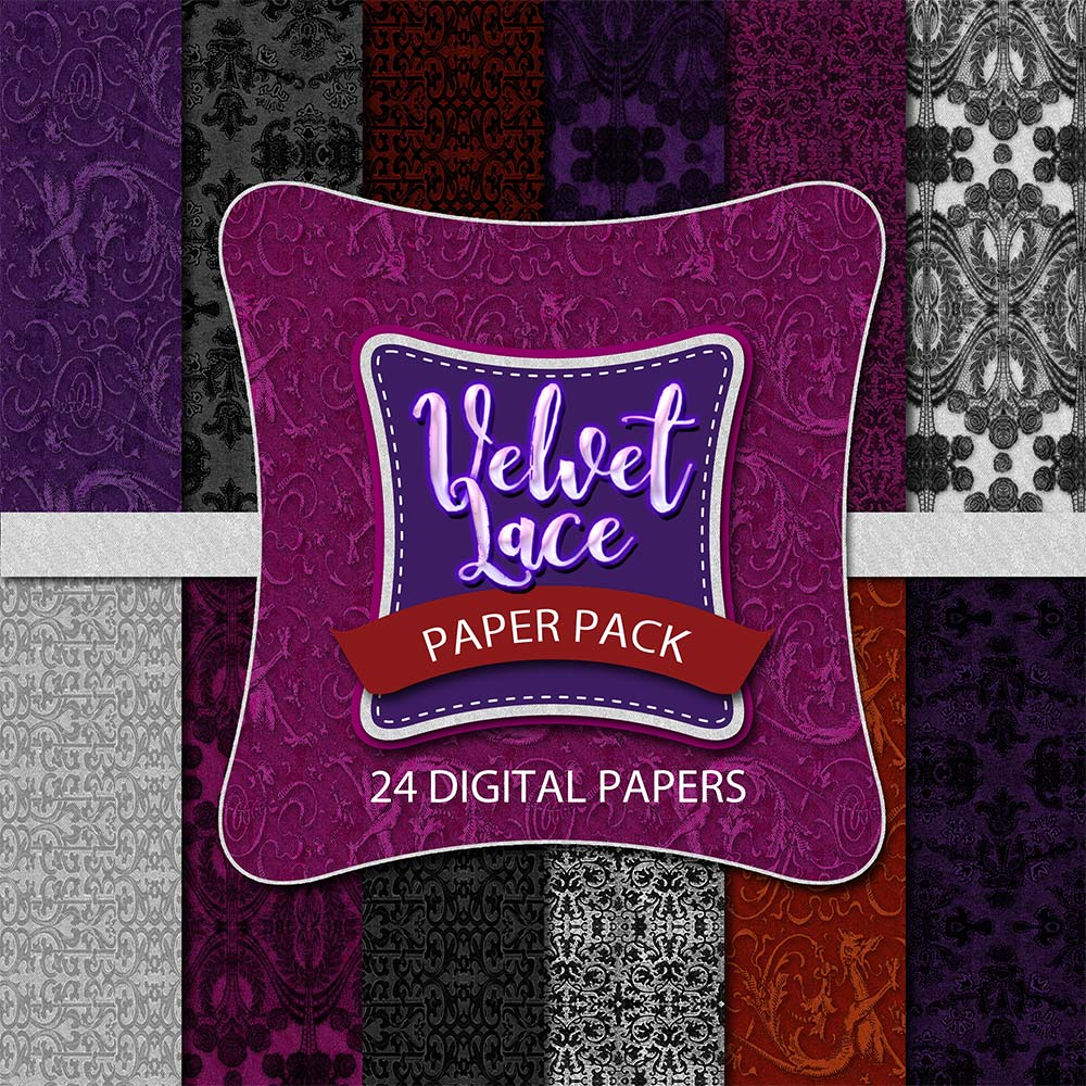 Digital Scrapbooking Papers - Velvet Lace