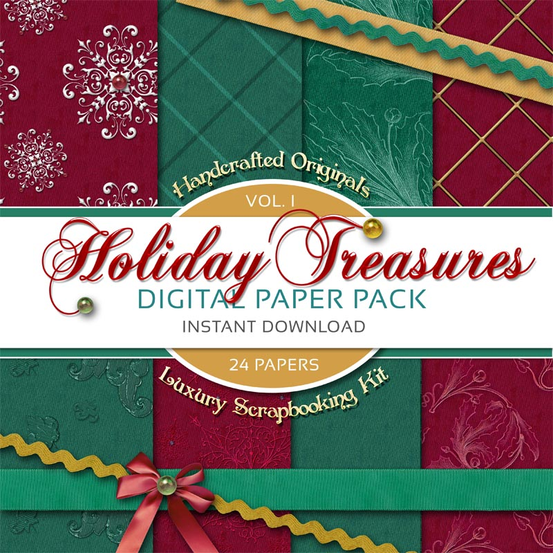Digital Scrapbooking Papers - Holiday Treasures Volume 1