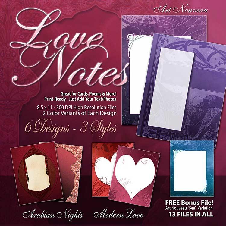 Digital Scrapbooking Papers - Love Notes