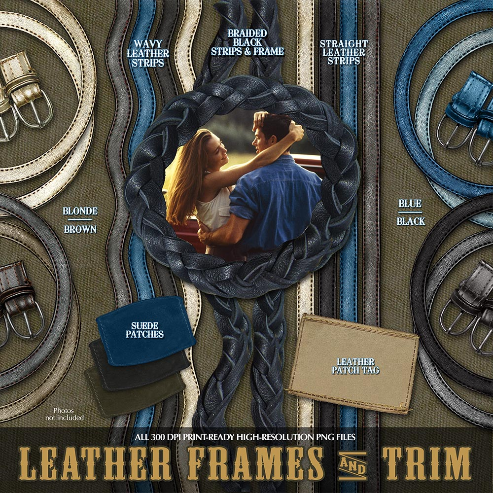 Digital Scrapbook Kits - Western Leather Trim