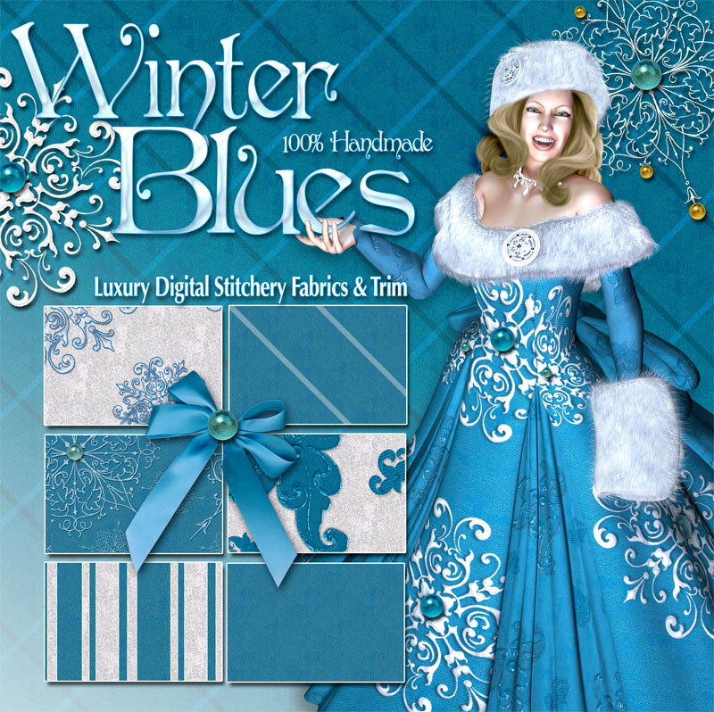 Digital 3D Texture Sets - Winter Blues